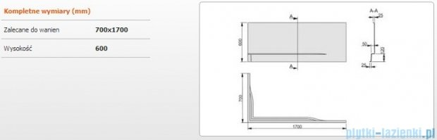Sanplast Obudowa do wanny Free Line prawa, OWPLP/FREE 70x170 cm 620-040-0100-01-000
