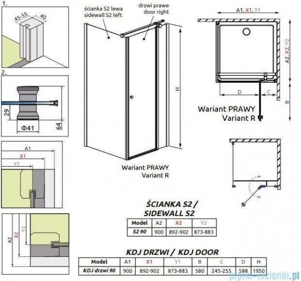 Radaway Eos II KDJ kabina prysznicowa 90x90 prawa szkło przejrzyste 3799421-01R/3799431-01L