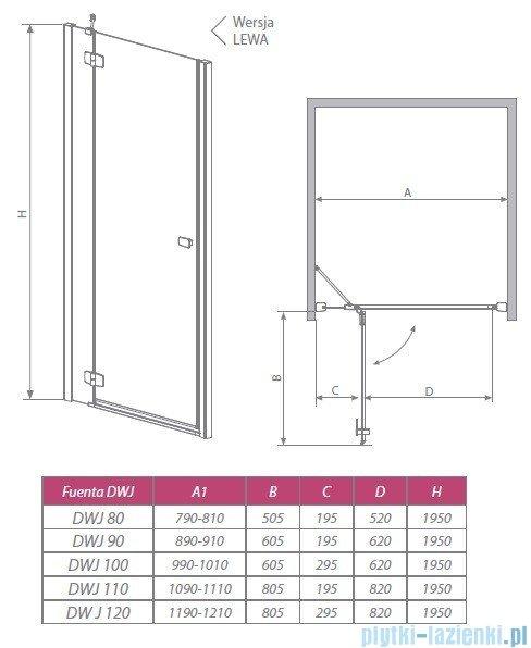 Radaway Drzwi wnękowe Fuenta DWJ 90 lewe szkło grafitowe 381013-05NL