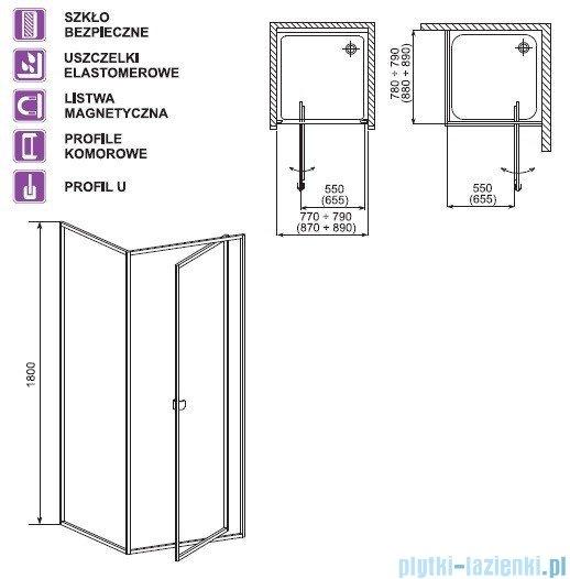 Aquaform Elba drzwi kabinowe uchylne 80cm 26507