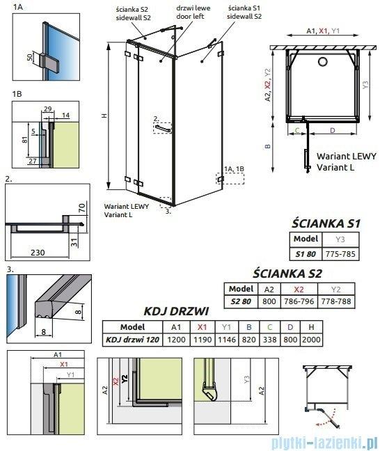 Radaway Euphoria KDJ+S Kabina przyścienna 80x120x80 lewa szkło przejrzyste 383024-01L/383051-01/383031-01