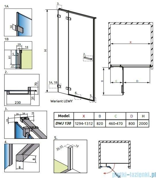 Radaway Euphoria DWJ Drzwi wnękowe 130 lewe szkło przejrzyste 383017-01L