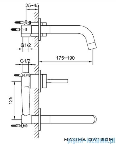 Kohlman Maxima podtynkowa bateria umywalkowa QW180M