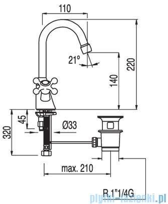 Tres Clasic-Tres Bateria umywalkowa Ceramiczna z korkiem automatycznym 1.37.104
