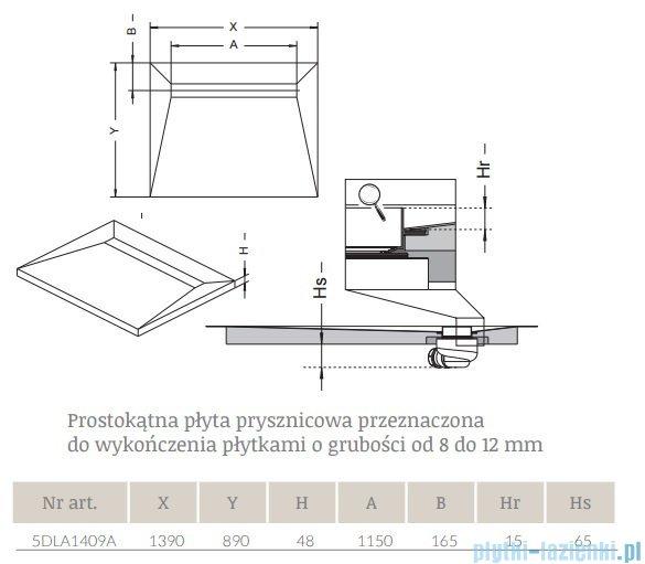 Radaway prostokątny brodzik podpłytkowy z odpływem liniowym Basic na dłuższym boku 139x89cm 5DLA1409A,5R115B,5SL1