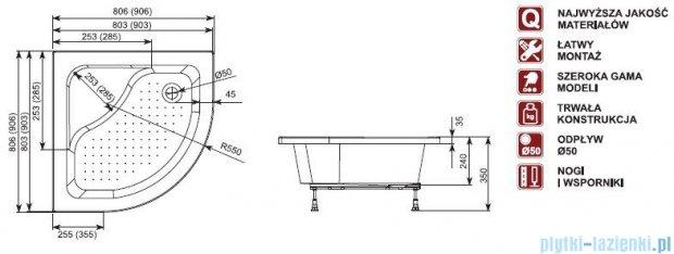 Aquaform Plus 550 brodzik półokrągły głęboki z siedziskiem 90x90cm 18608