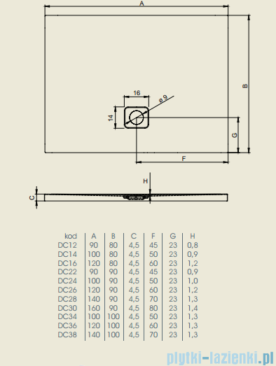 Riho Brodzik prostokątny Basel 404 100x80x4,5cm DC14