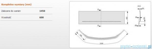 Sanplast Obudowa do wanny Free Line symetryczna, OWS/FREE 145x145 cm 620-040-0540-01-000