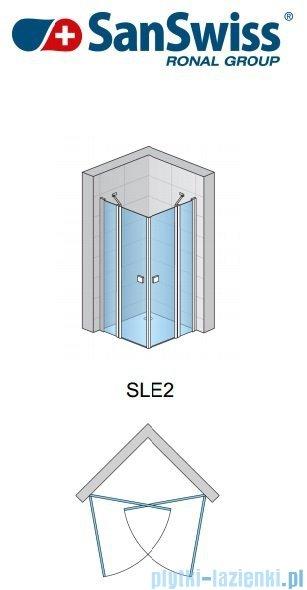 SanSwiss Swing Line SLE2 Wejście narożne 90cm profil srebrny Lewe SLE2G09000107