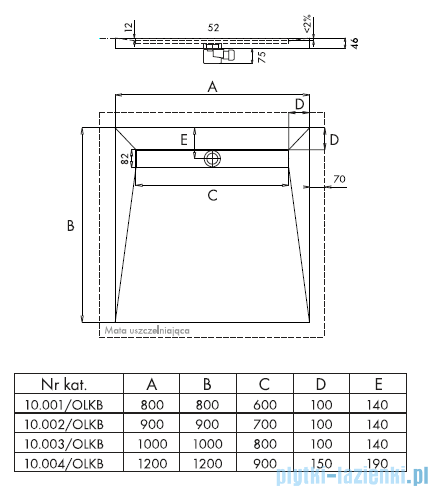 Schedpol Brodzik posadzkowy podpłytkowy z odpływem liniowym 120x120x5/12cm 10.004/OLKB