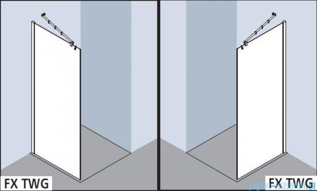 Kermi Filia Xp Ściana Walk-in Wall, stabilizator 45/przezroczyste KermiClean, profile srebrne 75x200cm FXTWG07520VPK