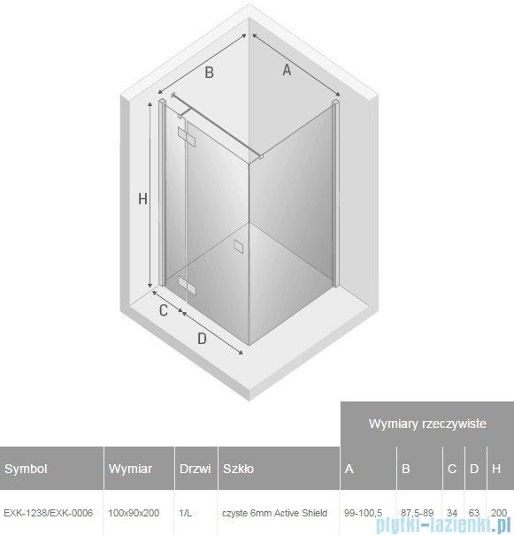 New Trendy Reflexa 100x90x200 cm kabina prostokątna lewa przejrzyste EXK-1238/EXK-0006