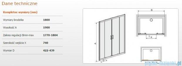 Sanplast drzwi przesuwne D4/TX5b-180 180x190 cm przejrzyste 600-271-1280-38-401