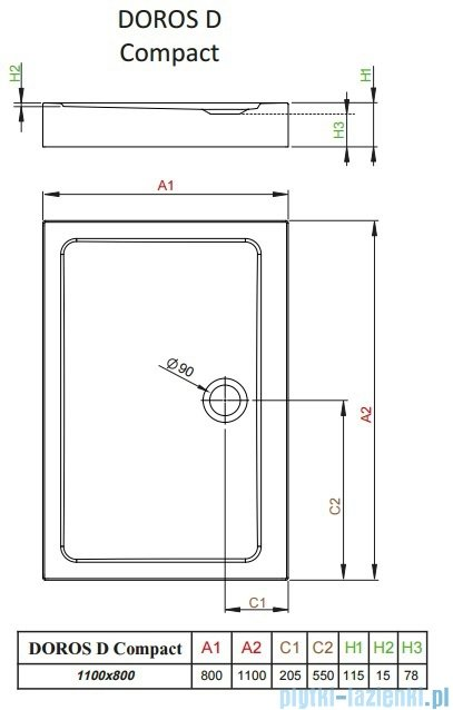 Radaway Doros D Compact brodzik prostokątny 110x80cm SDRD1180-05