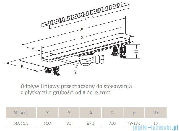 Radaway Flowers Odpływ liniowy 65x8cm 5L065A,5R065F