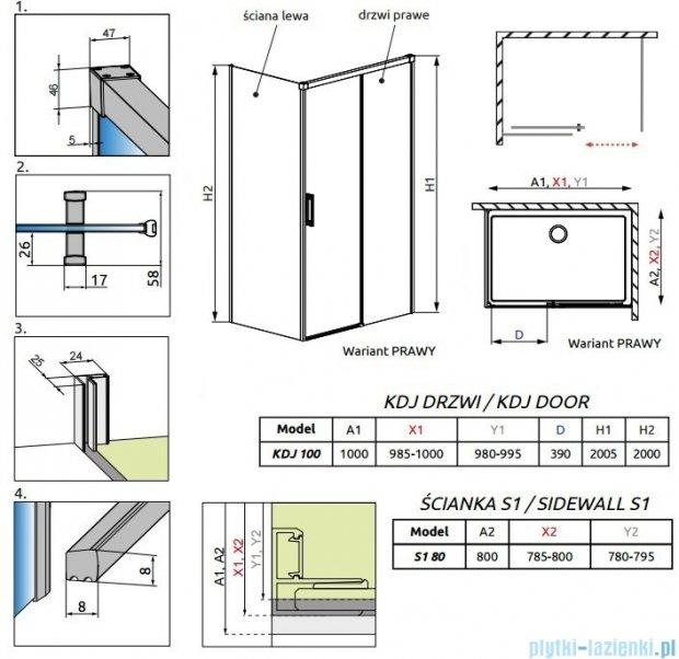 Radaway Idea Kdj kabina 100x80cm prawa szkło przejrzyste 387040-01-01R/387051-01-01L