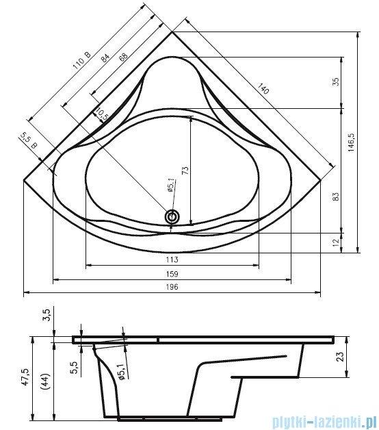 Riho Neo Wanna symetryczna 140x140 z hydromasażem HIT Hydro 6+4+2/Aero11 BC34H3