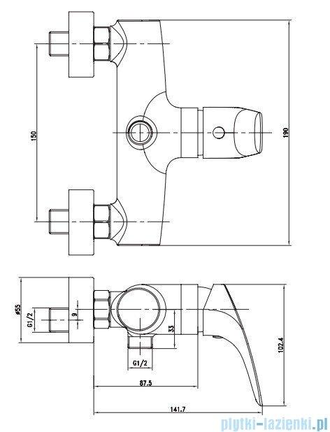 Deante Cynia Bateria natryskowa BCY 040M