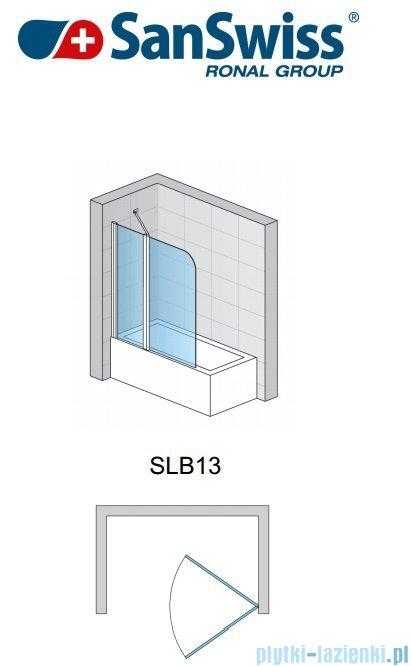 SanSwiss Swing Line SLB13 Parawan 2-częściowy 110cm profil srebrny Lewy SLB13G1100107
