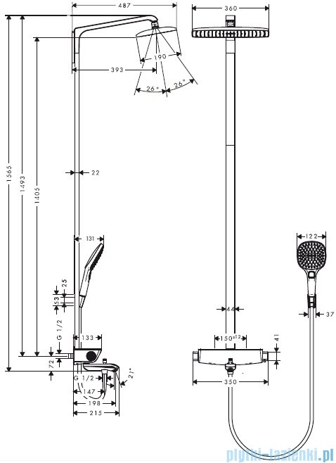 Hansgrohe Komplet prysznicowy Raindance Select E 360 1jet do wanny DN15 chrom 27113000