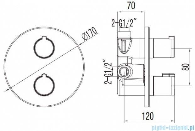 Art Platino Term bateria termostatyczna podtynkowa z przełącznikiem chrom TER–BPD.OK.220C