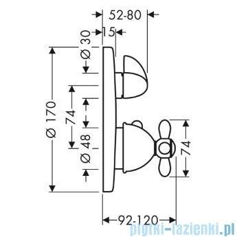 Hansgrohe Axor Carlton Bateria termostatowa podtynkowa z uchwytem krzyżowym chrom 17705000
