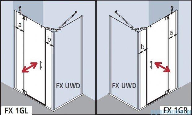 Kermi Filia Xp Drzwi wahadłowe 1-skrzydłowe z polami stałymi, lewe, szkło przezroczyste, profile srebrne 120x200cm FX1GL12020VAK