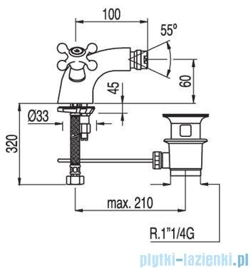 Tres Clasic-Tres Bateria bidetowa Ceramiczna bez korka automatycznego 1.32.120