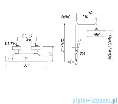 Tres Max-Tres Zestaw termostatyczny natryskowy Max chrom 061.210.01