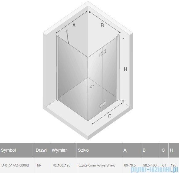New Trendy New Soleo 70x100x195 cm kabina prawa przejrzyste D-0151A/D-0089B