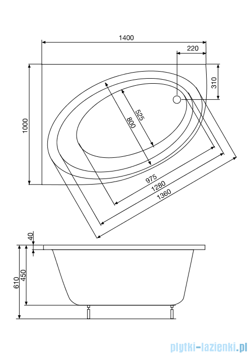 Roca Orbita wanna 140x100cm lewa z hydromasażem Smart Water Plus A24T188000