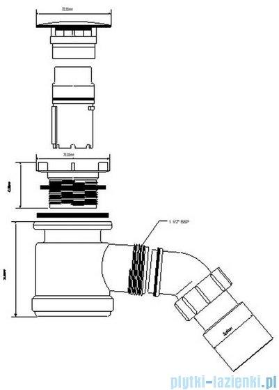 McAlpine Syfon brodzikowy 50'' pokrywa kolorze antyczny brąz HC26-AB