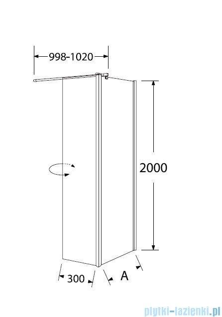 Sea Horse Easy In kabina natryskowa narożna typu Walk In z ruchomą ścianką boczną  100 cm  szkło: grafitowe BK253G10
