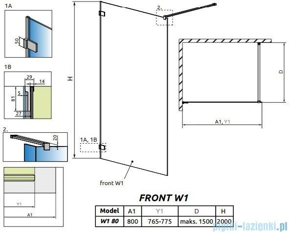 Radaway Euphoria Walk-in V kabina 80cm szkło przejrzyste 383110-01-01