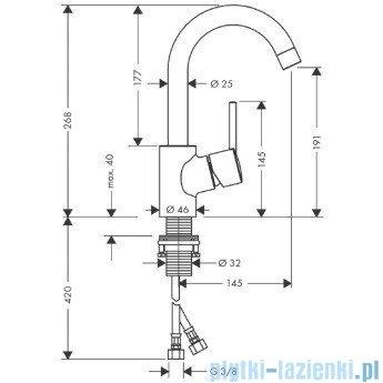 Hansgrohe Talis S Jednouchwytowa bateria umywalkowa DN15 z obrotową wylewką o 120° 32073000