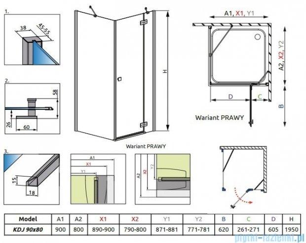 Radaway Kabina prysznicowa Almatea Kdj 90x80 prawa szkło grafitowe 32148-01-05NR