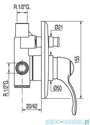 Tres Monoclasic 1900 Bateria podtynkowa wannowo-natryskowa kolor chrom 042.180.12