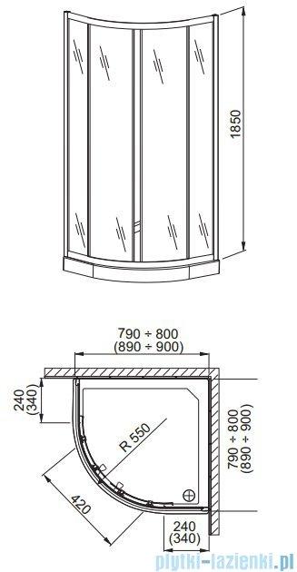 Aquaform Lazuro kabina prysznicowa półokrągła 80cm szkło przejrzyste profil chrom 06564