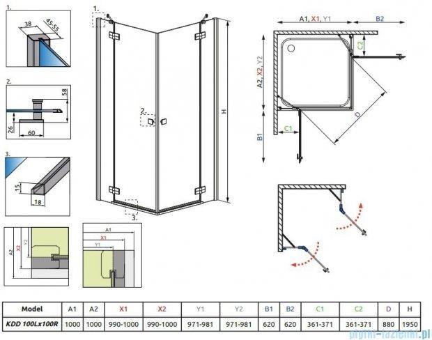 Radaway Almatea  Kdd Kabina kwadratowa 100x100 szkło przejrzyste + Brodzik Delos C 100 + syfon 32172-01-01N