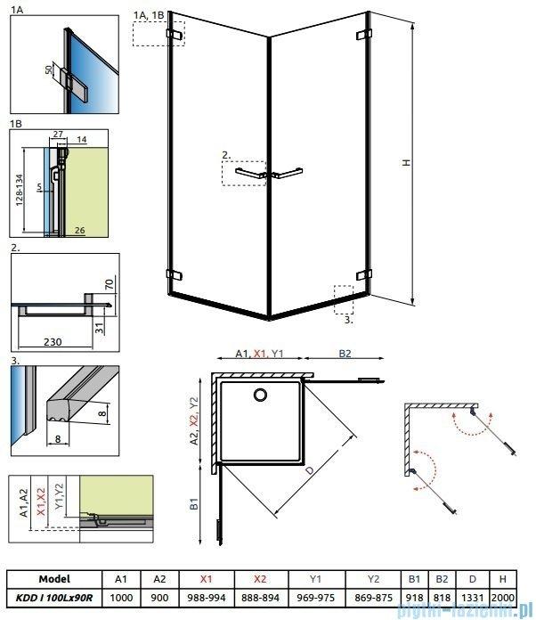 Radaway Arta Kdd I kabina 100x90cm szkło przejrzyste 386062-03-01L/386061-03-01R