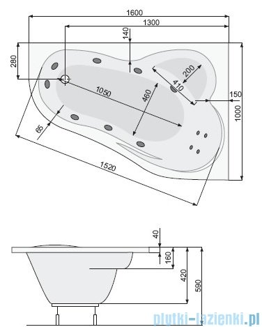 Poolspa Wanna asymetryczna LEDA 160x100 prawa + hydromasaż Smart 2 PHAH510ST2C0000
