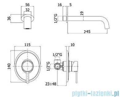 Paffoni Bateria umywalkowa podtynkowa ścienna, L=245 mm Berry chrom BR007CR