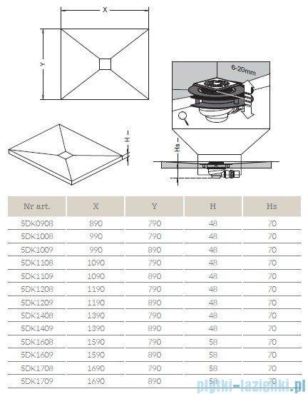 Radaway brodzik podpłytkowy z kratką odpływową 169x89cm 5DK1709,5K01,5SK1