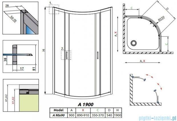 Radaway Premium Plus A Kabina półokrągła 90x90 szkło satinato 30403-01-02N