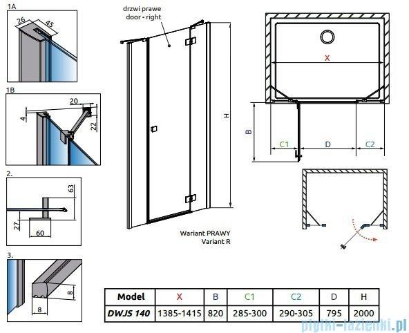 Radaway Essenza New DWJS drzwi wnękowe 140cm prawe szkło przejrzyste 385033-01-01R/384090-01-01