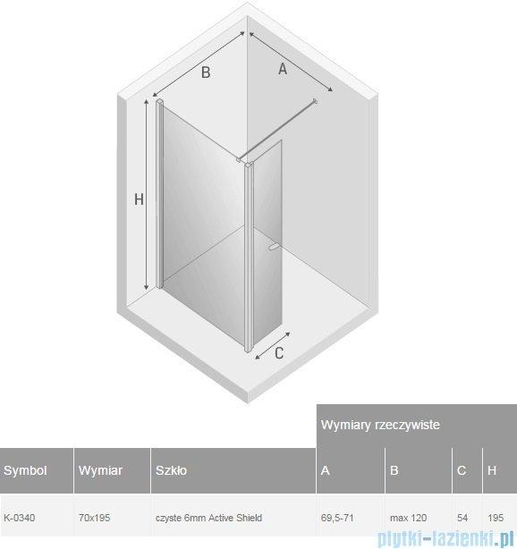 New Trendy New Soleo kabina Walk in 70x195 cm przejrzyste K-0340