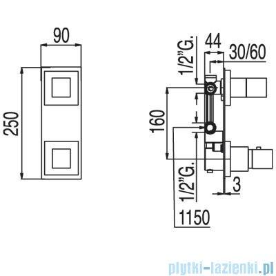 Tres Tresmostatic Loft Bateria termostatyczna podtynkowa dwudrożna kolor chrom 200.250.02