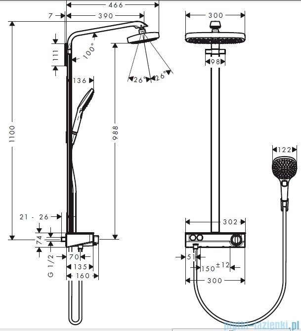 Hansgrohe Komplet prysznicowy Raindance Select E 300 2jet DN15 chrom 27126000