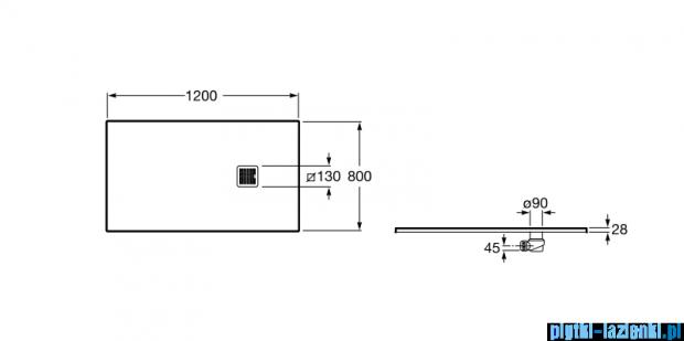 Roca Terran 120x80cm brodzik prostokątny konglomeratowy off white AP014B032001090