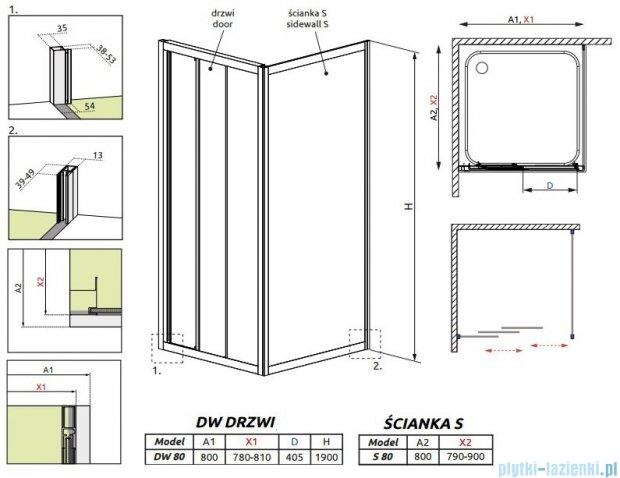 Radaway Treviso DW+S kabina 80x80 szkło przejrzyste 32313-01-01N/32413-01-01N